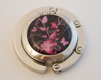 Lilies on Black Compact Foldable Handbag Hook