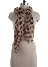 Elsa Cream with Brown Polka Dots Fashion Scarf