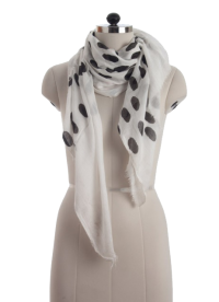 Elsa Large Black Polka Dots on White Fashion Scarf