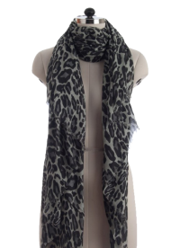 Elsa Dark Leopard Print Fashion Scarf