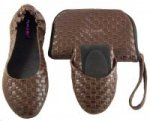 Tipsyfeet Brown Weave Foldable Shoe