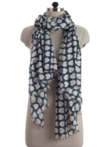 Elsa Hearts on Dark Blue Fashion Scarf
