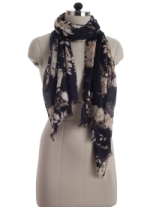 Elsa Navy Blue Autumn Flowers Fashion Scarf