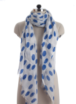 Elsa Large Blue Polka Dots on White Fashion Scarf