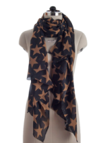 Elsa Tan Stars on Black Fashion Scarf